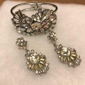 Celestial Frost earrings and cuff bracelet set